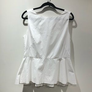 BANANA REPUBLIC / white rough edge peplum blouse